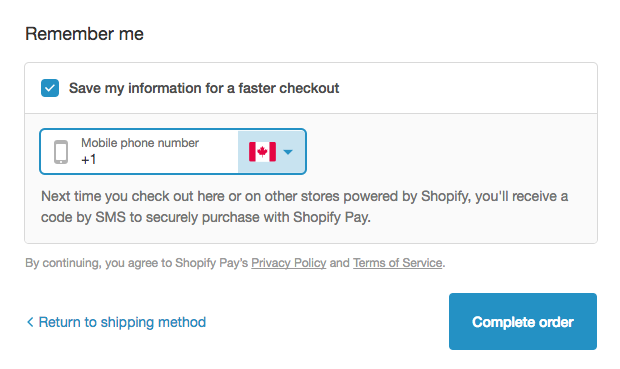 Shopify Payments-dialoogvenster