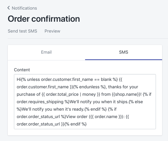 SMS template for the order confirmation notification