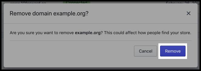 Kliknutím na tlačítko Odebrat doménu potvrďte