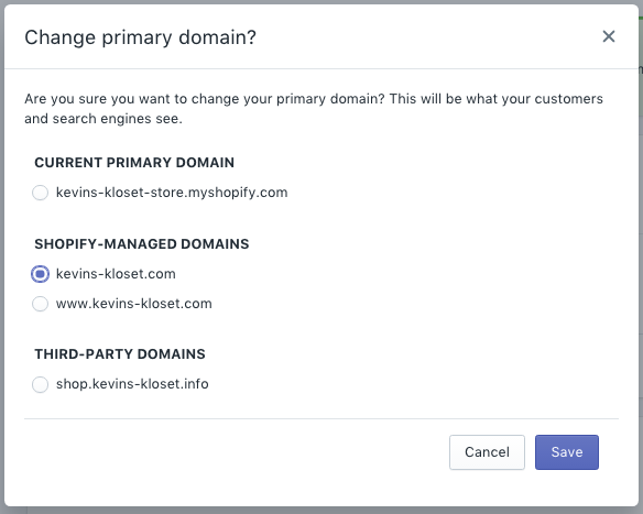Select primary domain