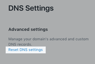 Reset DNS settings button