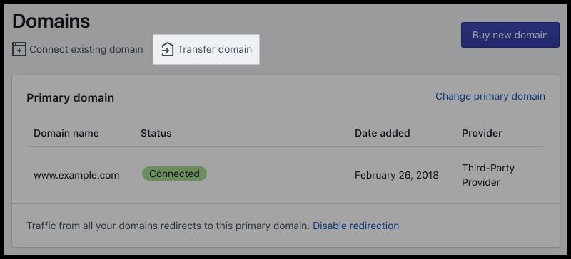 Bouton de transfert de domaine
