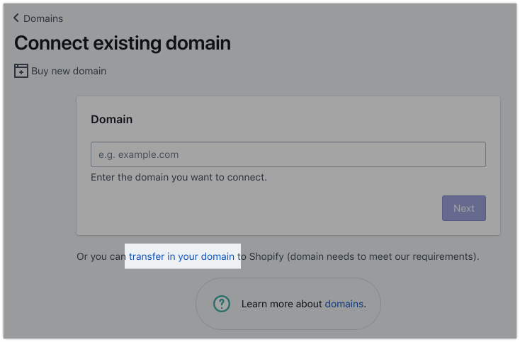 Transferring a domain · Shopify Help Center