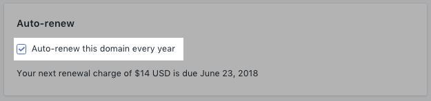 Schakel Dit domein elk jaar automatisch verlengen uit