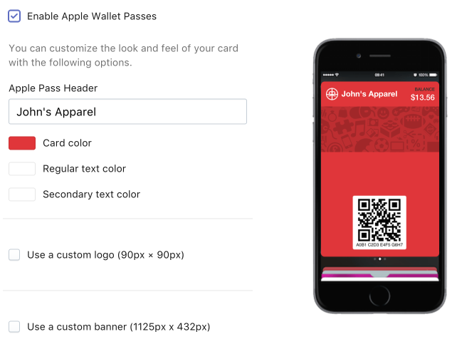 Apple Wallet Pass appearance preview and options including header text, colors, and checkboxes for using a custom logo or banner