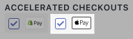 The checkbox for Apple Pay
