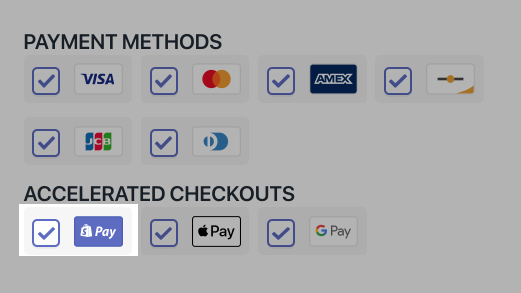 The checkbox for Shopify Pay