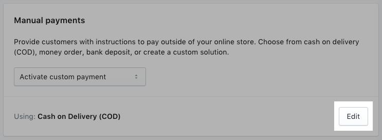 Butang edit untuk kaedah pembayaran manual