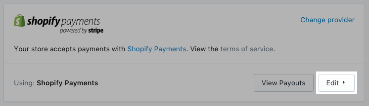 The edit button for Shopify Payments settings