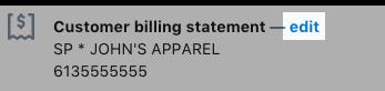 Le lien de modification du compte bancaire que vous utilisez pour Shopify Payments