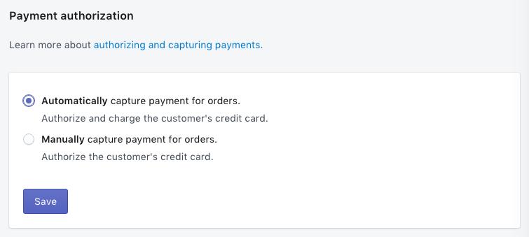 A opção de captura automática na seção de Autorização de pagamento