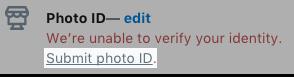 Le lien Envoyer une pièce d'identité avec photo