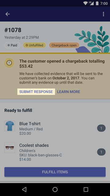 Knappen Skicka svar i en chargeback-banner
