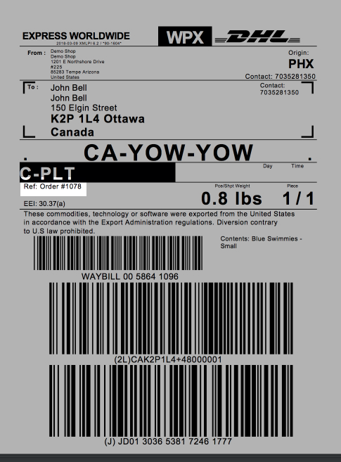 Highlighted order number location on an example DHL label