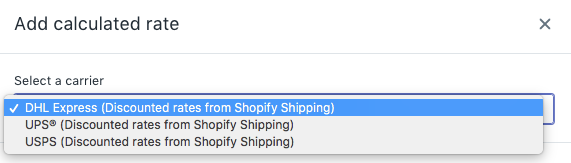 Select a carrier from the drop-down menu