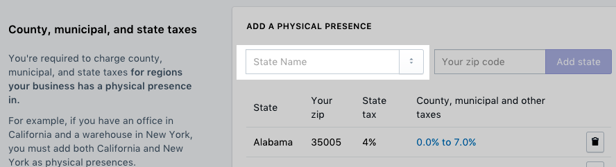 Select a state in the State Name field
