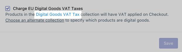 按一下「數位商品 VAT 稅」以開啟該商品系列
