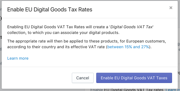 Confirm and enable EU Digital Goods Tax Rates