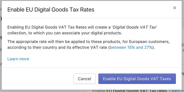 確認並啟用歐盟數位商品稅率