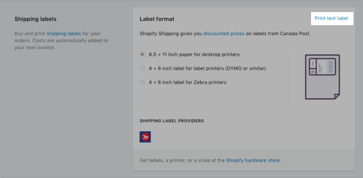 Shopify Shipping - CP test etiketi