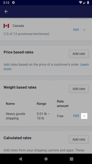Knop Verwijderen - Shopify voor Android