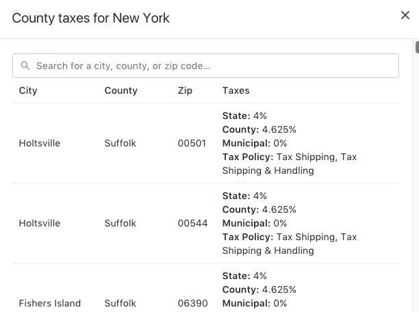 Fenêtre Taxes de comté