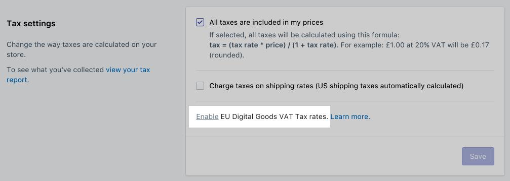 在「稅金設定」中啟用歐盟數位商品 VAT 稅率