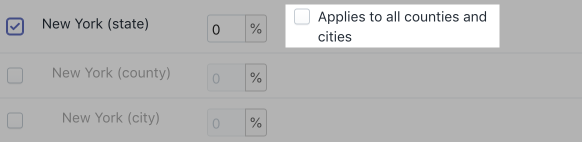 A series of checkboxes with following options: New York (state), New York (county), New York (city), and Applies to all counties and cities. New York (state) is checked. Applies to all counties and cities is highlighted.