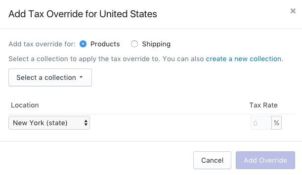 Click Products in the Add Tax Override for country section to add an override for products
