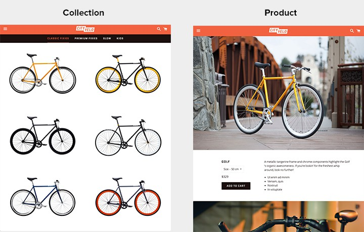 An example showing the collection page with the first product image and product page with the second and third product images