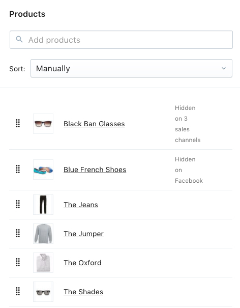The Collections page in the Shopify admin.
