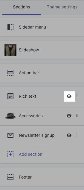 Barre d'outils de l'éditeur de thème avec l'icône de l'œil en surbrillance