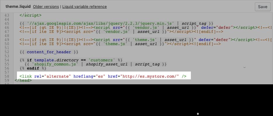Code sample showing hreflang tag pasted just above the closing head tag
