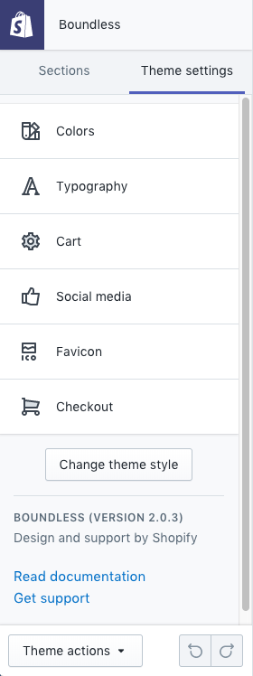 Sections and theme settings · Shopify Help Center