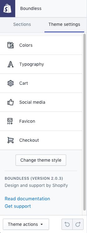 L'onglet Paramètres du thème de la barre d'outils de l'éditeur de thème