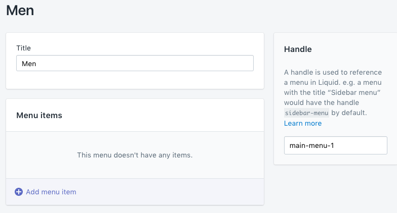 """Add menu page with a new menu called """"Men"""""""