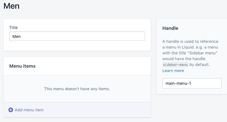 """Een menupagina toevoegen met een nieuw menu met de naam """"Heren"""""""