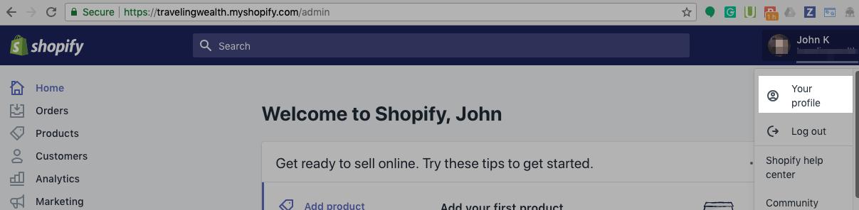 """在右上角,打开 Shopify 帐户,然后单击""""个人资料"""""""