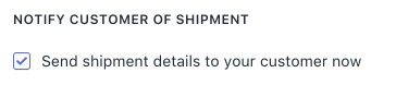 Email fulfillment notice