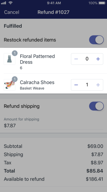 Shopify - 部分退款 iPhone
