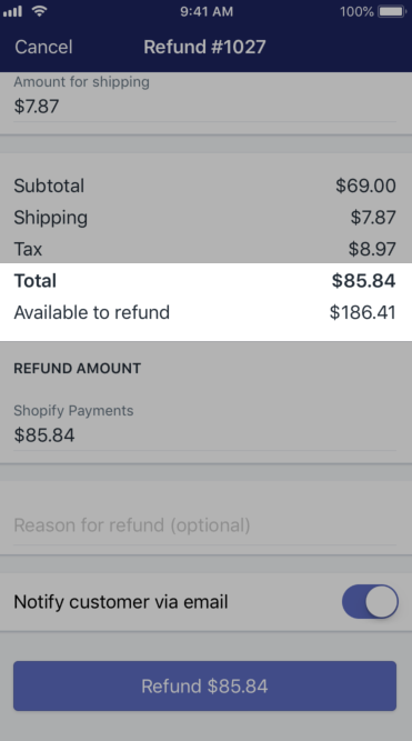 Shopify - totais parciais de reembolso