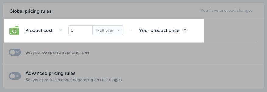 Custo do produto da regra global de precificação