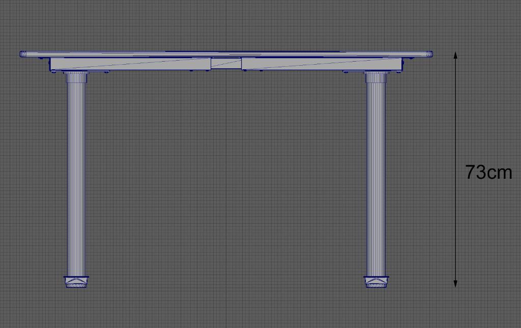Vue latérale d'un modèle de table construit à la même hauteur que la table réelle (73cm).