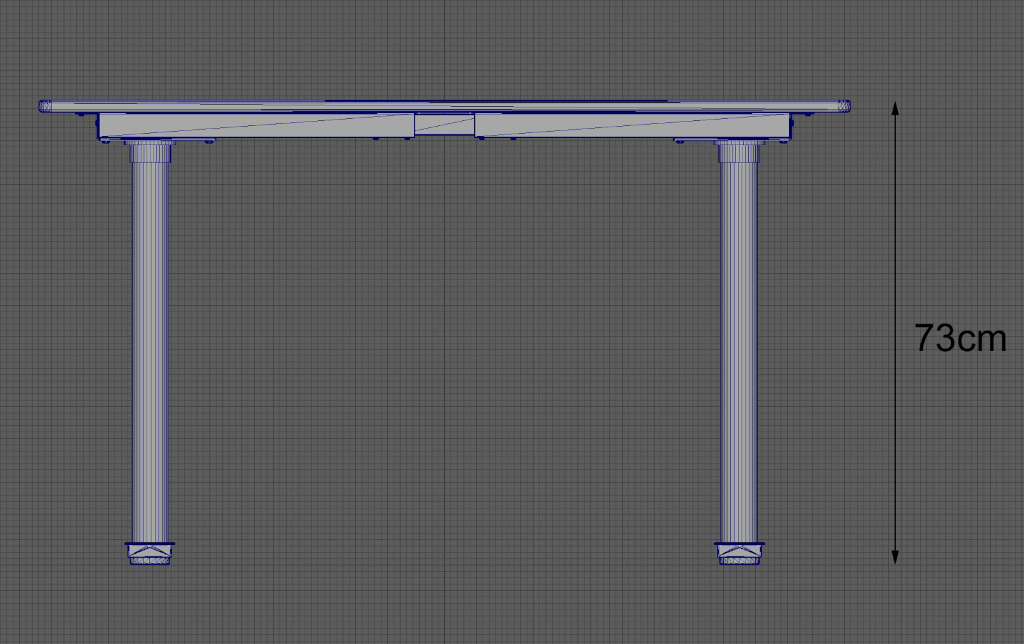 La vista lateral de un modelo de mesa que está construido a la misma altura que la mesa real (73 cm).