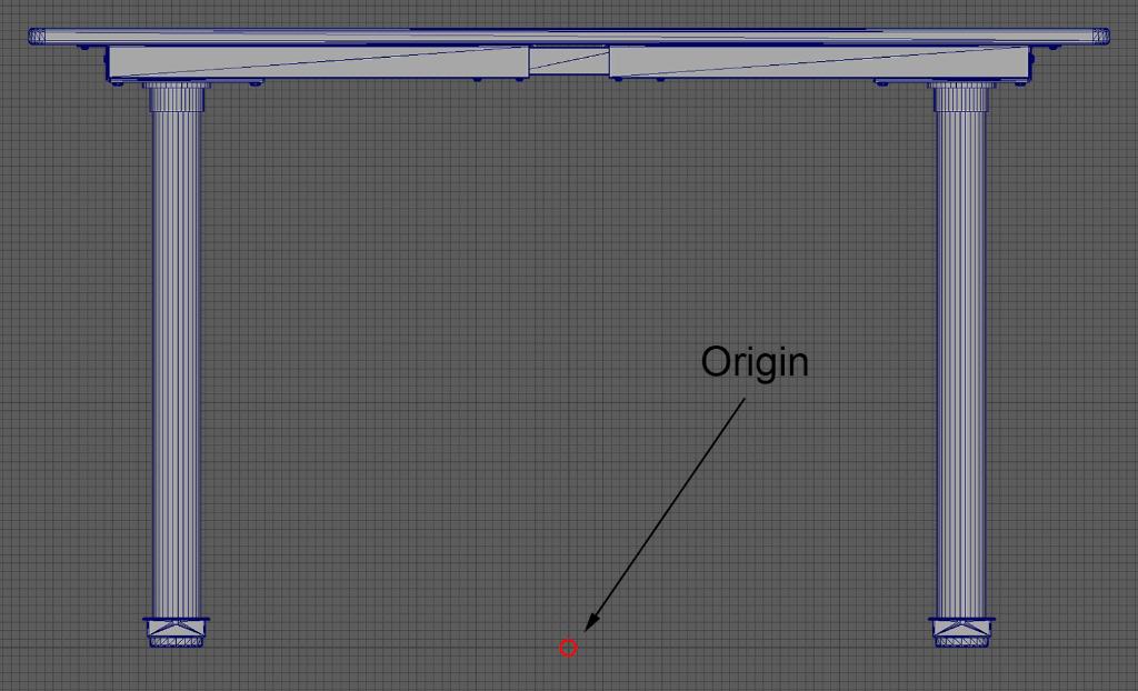 Modèle de table dont l'origine est placée à la base.