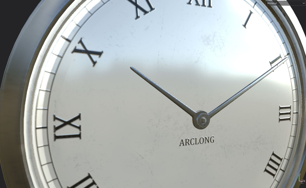 A close up of a watch face showing imperfections in the material.