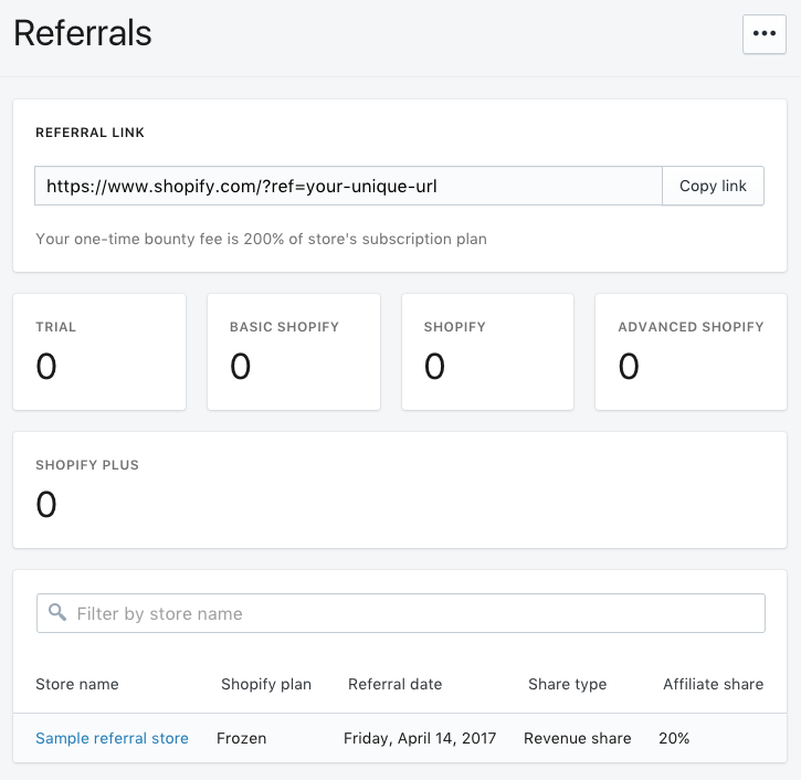 The Referrals page