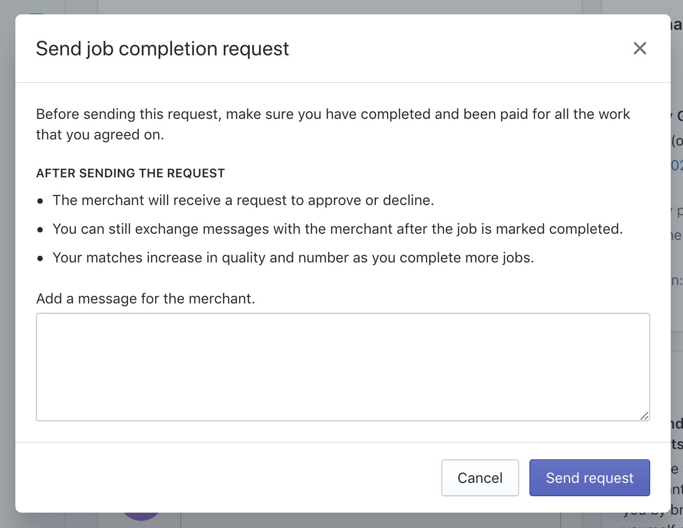 Mostra la finestra di dialogo per la richiesta di conferma completamento lavoro nella Partner Dashboard