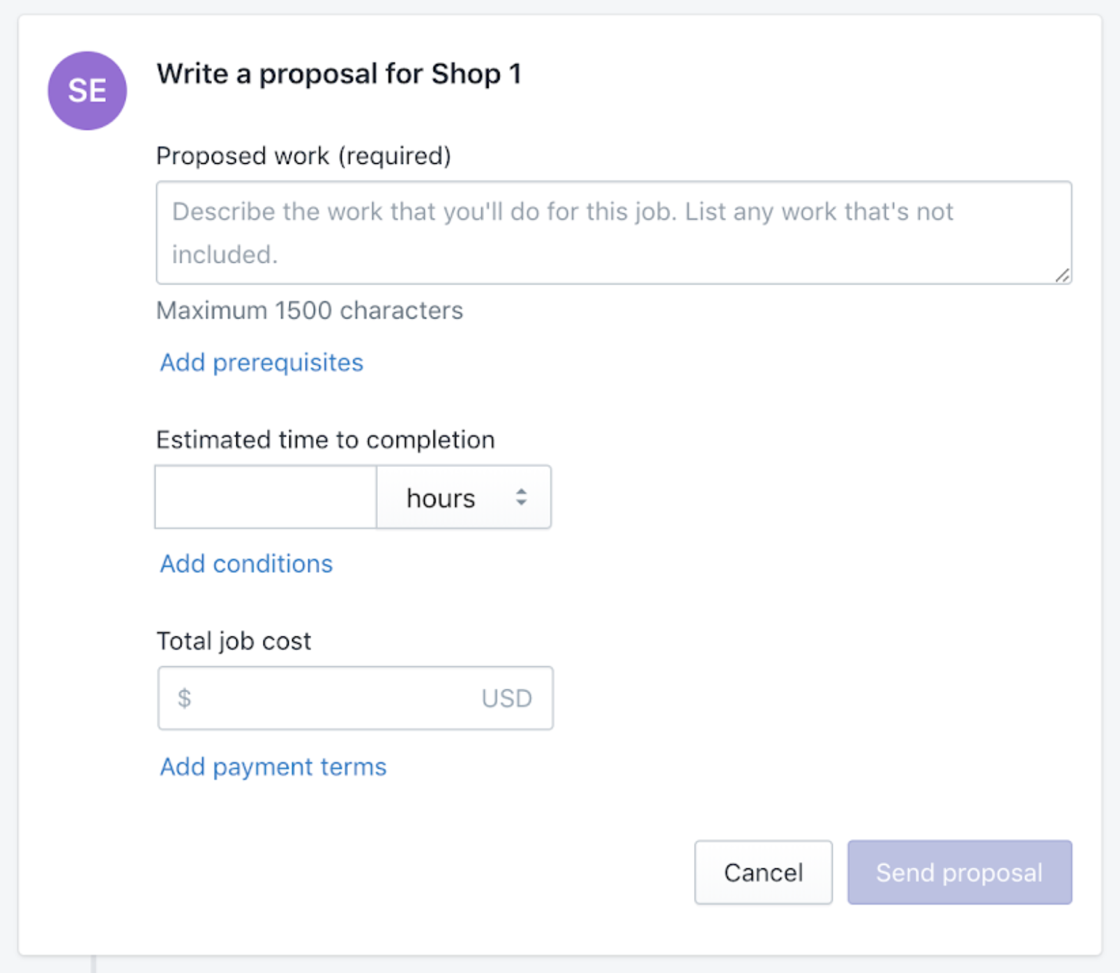 El formulario que se usa para crear una propuesta