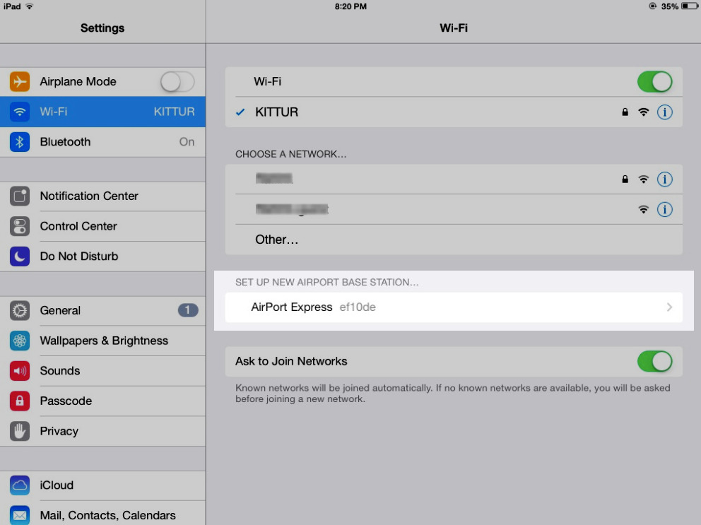 iOS Wi-Fi Airport Express